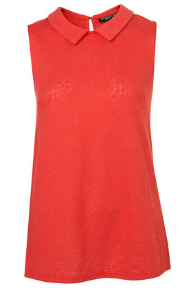 Tall Collar Lace Top - sleeve style: sleeveless; predominant colour: true red; occasions: casual, evening, work; length: standard; style: top; fibres: cotton - mix; fit: loose; neckline: no opening/shirt collar/peter pan; back detail: keyhole/peephole detail at back; sleeve length: sleeveless; texture group: lace; pattern type: fabric; pattern size: light/subtle; season: s/s 2013