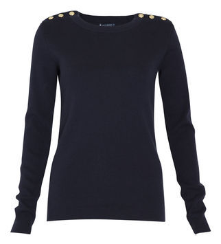 Crew Neck Sweater - style: standard; hip detail: draws attention to hips; predominant colour: navy; occasions: casual, work; length: standard; fibres: cotton - 100%; fit: standard fit; neckline: crew; shoulder detail: added shoulder detail; sleeve length: long sleeve; sleeve style: standard; texture group: knits/crochet; pattern type: knitted - fine stitch; pattern size: standard; season: s/s 2013