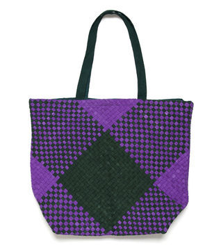 Elizabeth Woven Fabric Tote - predominant colour: purple; occasions: casual, work; type of pattern: standard; style: tote; length: shoulder (tucks under arm); size: oversized; material: macrame/raffia/straw; pattern: checked/gingham, pinstripe, patterned/print; trends: modern geometrics; finish: plain; season: s/s 2013