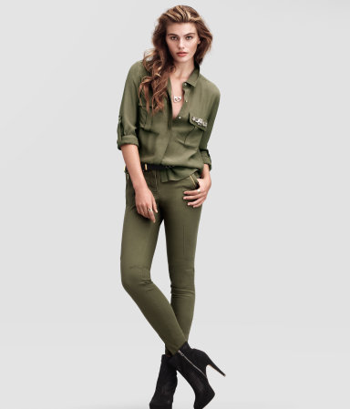 Trousers - pattern: plain; waist detail: fitted waist, feature waist detail; pocket detail: small back pockets, pockets at the sides; hip detail: front pockets at hip, added detail/embellishment at hip, fitted at hip (bottoms); waist: mid/regular rise; predominant colour: khaki; occasions: casual; length: ankle length; fibres: cotton - stretch; texture group: cotton feel fabrics; fit: skinny/tight leg; pattern type: fabric; style: standard; season: s/s 2013; pattern size: standard (bottom)