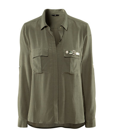 Blouse - neckline: shirt collar/peter pan/zip with opening; pattern: plain; bust detail: added detail/embellishment at bust; length: below the bottom; style: blouse; predominant colour: khaki; occasions: casual, work; fibres: polyester/polyamide - 100%; fit: straight cut; sleeve length: long sleeve; sleeve style: standard; texture group: sheer fabrics/chiffon/organza etc.; pattern type: fabric; pattern size: light/subtle; season: s/s 2013