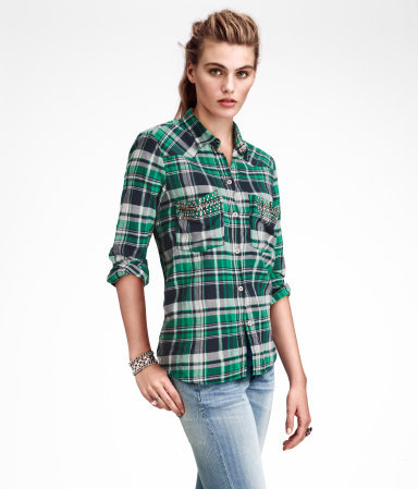 Shirt - neckline: shirt collar/peter pan/zip with opening; pattern: checked/gingham; bust detail: added detail/embellishment at bust, pocket detail at bust, buttons at bust (in middle at breastbone)/zip detail at bust; style: shirt; predominant colour: emerald green; occasions: casual; length: standard; fibres: cotton - 100%; fit: straight cut; sleeve length: long sleeve; sleeve style: standard; texture group: cotton feel fabrics; pattern type: fabric; pattern size: standard; season: s/s 2013