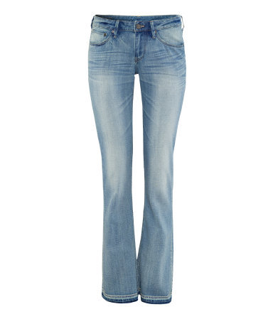 Skinny Bootcut Low Jeans - style: bootcut; length: standard; pattern: plain; waist: low rise; pocket detail: traditional 5 pocket; predominant colour: pale blue; occasions: casual; fibres: cotton - stretch; jeans detail: whiskering, shading down centre of thigh, washed/faded; texture group: denim; pattern type: fabric; season: s/s 2013; pattern size: standard (bottom)