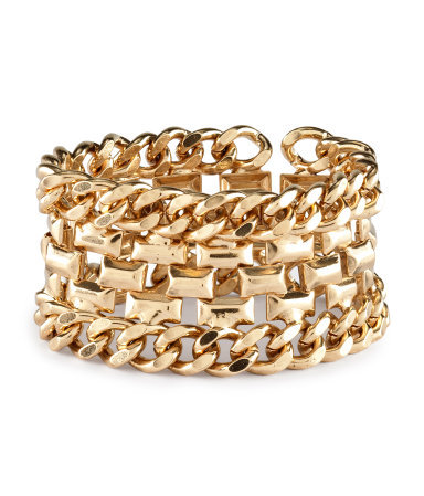 Bracelet - predominant colour: gold; occasions: casual, evening, work, occasion, holiday; style: chain; size: large/oversized; material: chain/metal; finish: metallic; embellishment: chain/metal; season: s/s 2013