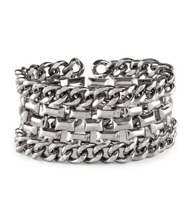 Bracelet - predominant colour: silver; occasions: casual, evening, work, occasion; style: chain; size: large/oversized; material: chain/metal; finish: metallic; embellishment: chain/metal; season: s/s 2013
