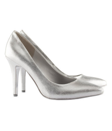 Court Shoes - predominant colour: silver; occasions: evening, work, occasion; material: faux leather; heel height: high; heel: stiletto; toe: pointed toe; style: courts; trends: metallics; finish: metallic; pattern: plain; season: s/s 2013