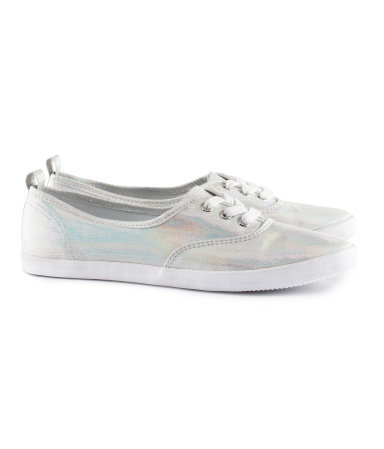 Sneakers - predominant colour: silver; occasions: casual; material: fabric; heel height: flat; toe: round toe; style: trainers; trends: metallics; finish: metallic; pattern: plain, two-tone; season: s/s 2013