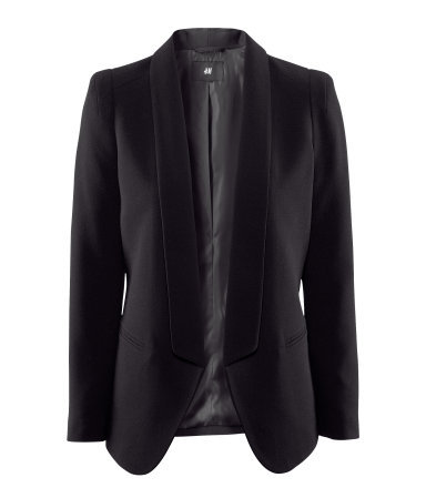 Jacket - pattern: plain; style: single breasted blazer; collar: shawl/waterfall; predominant colour: black; occasions: casual, evening, work, occasion; length: standard; fit: tailored/fitted; fibres: polyester/polyamide - mix; waist detail: fitted waist; bust detail: contrast pattern/fabric/detail at bust; sleeve length: long sleeve; sleeve style: standard; trends: tuxedo; collar break: low/open; pattern type: fabric; pattern size: standard; texture group: other - light to midweight; season: s/s 2013; hip detail: front pockets at hip