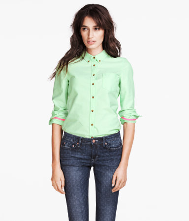 Shirt - neckline: shirt collar/peter pan/zip with opening; pattern: plain; style: shirt; bust detail: pocket detail at bust, buttons at bust (in middle at breastbone)/zip detail at bust; predominant colour: pistachio; occasions: casual, work; length: standard; fibres: cotton - 100%; fit: straight cut; sleeve length: long sleeve; sleeve style: standard; texture group: cotton feel fabrics; pattern type: fabric; pattern size: standard; season: s/s 2013
