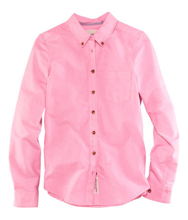 Shirt - neckline: shirt collar/peter pan/zip with opening; pattern: plain; style: shirt; bust detail: pocket detail at bust, buttons at bust (in middle at breastbone)/zip detail at bust; predominant colour: pink; occasions: casual, work; length: standard; fibres: cotton - mix; fit: straight cut; sleeve length: long sleeve; sleeve style: standard; texture group: cotton feel fabrics; pattern type: fabric; pattern size: standard; season: s/s 2013