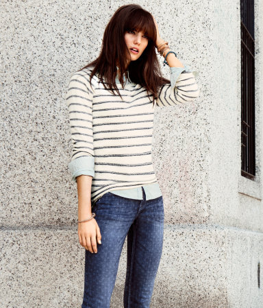 Sweatshirt - neckline: round neck; pattern: horizontal stripes, striped; style: sweat top; hip detail: fitted at hip; predominant colour: white; occasions: casual; length: standard; fibres: cotton - 100%; fit: body skimming; back detail: longer hem at back than at front; sleeve length: 3/4 length; sleeve style: standard; pattern type: fabric; pattern size: standard; texture group: jersey - stretchy/drapey; season: s/s 2013