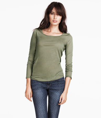 Top - neckline: round neck; pattern: plain; predominant colour: khaki; occasions: casual, work; length: standard; style: top; fibres: cotton - mix; fit: body skimming; sleeve length: long sleeve; sleeve style: standard; pattern type: fabric; texture group: jersey - stretchy/drapey; season: s/s 2013