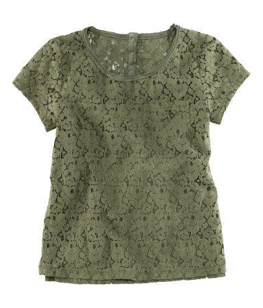 Top - neckline: round neck; style: t-shirt; bust detail: subtle bust detail; predominant colour: khaki; occasions: casual, work; length: standard; fibres: cotton - mix; fit: straight cut; sleeve length: short sleeve; sleeve style: standard; texture group: lace; pattern type: fabric; pattern size: standard; pattern: patterned/print; season: s/s 2013; wardrobe: highlight