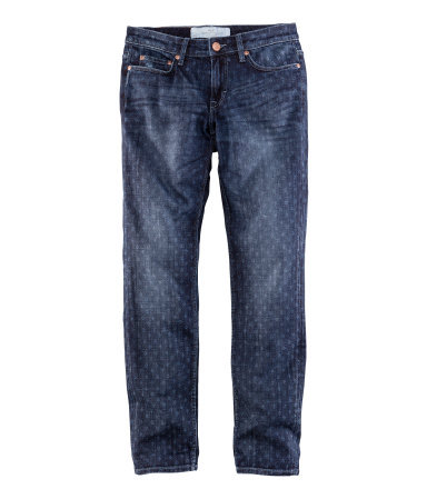 Jeans - style: boyfriend; length: standard; pattern: plain, polka dot, patterned/print; pocket detail: traditional 5 pocket; waist: mid/regular rise; predominant colour: navy; occasions: casual; fibres: cotton - stretch; jeans detail: whiskering, shading down centre of thigh, dark wash, washed/faded; texture group: denim; pattern type: fabric; season: s/s 2013; pattern size: light/subtle (bottom)