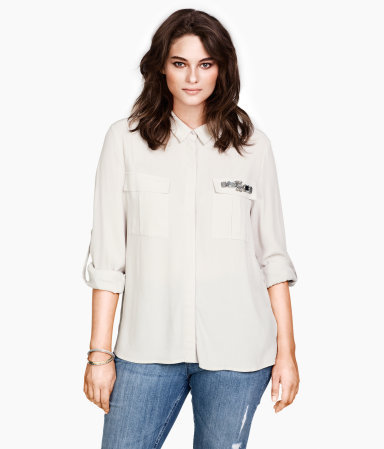 + Blouse - neckline: shirt collar/peter pan/zip with opening; bust detail: added detail/embellishment at bust, pocket detail at bust; style: blouse; predominant colour: ivory/cream; occasions: casual, evening, work; length: standard; fibres: polyester/polyamide - 100%; fit: loose; sleeve length: 3/4 length; sleeve style: standard; texture group: crepes; pattern type: fabric; pattern size: standard; embellishment: beading; season: s/s 2013