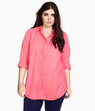 + Shirt - neckline: shirt collar/peter pan/zip with opening; pattern: plain; length: below the bottom; style: shirt; bust detail: buttons at bust (in middle at breastbone)/zip detail at bust; predominant colour: pink; occasions: casual; fibres: cotton - 100%; fit: loose; hip detail: dip hem; shoulder detail: discreet epaulette, subtle shoulder detail; back detail: longer hem at back than at front; sleeve length: long sleeve; sleeve style: standard; texture group: cotton feel fabrics; trends: volume; pattern type: fabric; pattern size: standard; season: s/s 2013