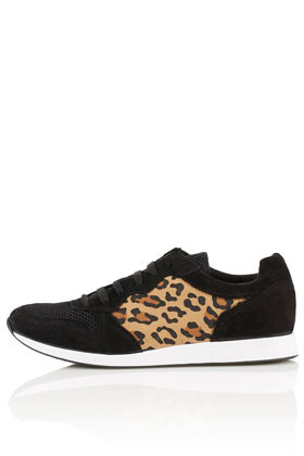 Tuscany Leopard Runners - predominant colour: black; occasions: casual; material: fabric; heel height: flat; toe: round toe; style: trainers; finish: plain; pattern: animal print, colourblock; season: s/s 2013