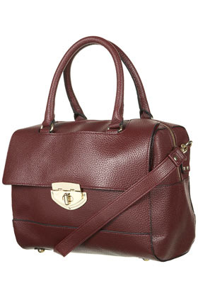 Toplock Bowling Bag - predominant colour: burgundy; occasions: casual, work; type of pattern: standard; style: bowling; length: handle; size: standard; material: faux leather; pattern: plain; finish: plain; season: s/s 2013