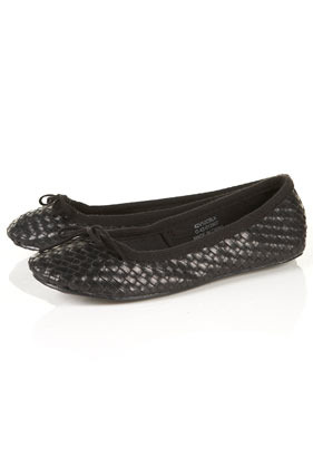 Village Woven Ballet Pumps - predominant colour: black; occasions: casual, work; material: faux leather; heel height: flat; toe: round toe; style: ballerinas / pumps; finish: plain; pattern: patterned/print, plain; embellishment: bow; season: s/s 2013