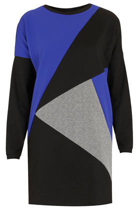 Mix Match Sweat Dress - style: jumper dress; length: mid thigh; neckline: round neck; shoulder detail: contrast pattern/fabric at shoulder; predominant colour: royal blue; occasions: casual, evening; fit: body skimming; fibres: polyester/polyamide - stretch; hip detail: contrast fabric/print detail at hip; bust detail: contrast pattern/fabric/detail at bust; sleeve length: long sleeve; sleeve style: standard; texture group: knits/crochet; pattern type: knitted - fine stitch; pattern size: big & busy; pattern: patterned/print; season: s/s 2013