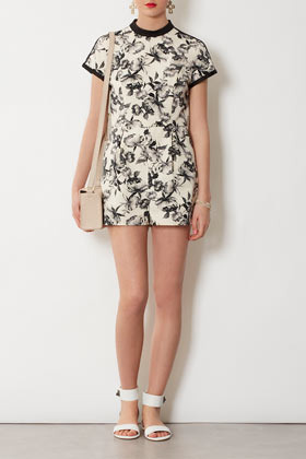 Mono Floral Playsuit - fit: tailored/fitted; length: short shorts; predominant colour: ivory/cream; occasions: casual, evening, holiday; fibres: cotton - stretch; neckline: crew; sleeve length: short sleeve; sleeve style: standard; texture group: cotton feel fabrics; trends: high impact florals; style: playsuit; pattern type: fabric; pattern size: standard; pattern: florals; season: s/s 2013