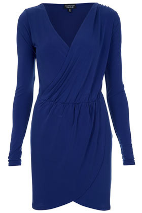 Cobalt Drape Dress - style: faux wrap/wrap; neckline: low v-neck; pattern: plain; waist detail: fitted waist, flattering waist detail; predominant colour: royal blue; occasions: casual, evening, occasion; length: just above the knee; fit: body skimming; fibres: polyester/polyamide - stretch; hip detail: ruching/gathering at hip; sleeve length: long sleeve; sleeve style: standard; trends: glamorous day shifts; pattern type: fabric; pattern size: standard; texture group: jersey - stretchy/drapey; season: s/s 2013