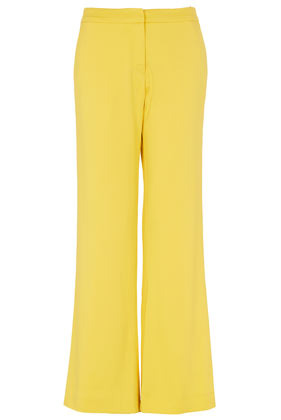 **Yellow Trousers Unique - length: standard; pattern: plain; waist detail: fitted waist, feature waist detail; pocket detail: pockets at the sides; waist: mid/regular rise; predominant colour: yellow; occasions: casual, evening, work, occasion; fibres: polyester/polyamide - stretch; hip detail: fitted at hip (bottoms); texture group: silky - light; fit: wide leg; pattern type: fabric; style: standard; season: s/s 2013; pattern size: standard (bottom)