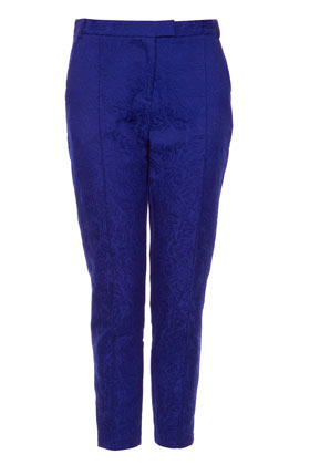 Jacquard Cigarette Trousers - waist detail: fitted waist, feature waist detail; pocket detail: small back pockets, pockets at the sides; style: peg leg; waist: mid/regular rise; predominant colour: royal blue; occasions: casual, evening, work, occasion; length: ankle length; fibres: cotton - mix; hip detail: fitted at hip (bottoms); texture group: ornate wovens; trends: statement prints; fit: tapered; pattern type: fabric; pattern: patterned/print; season: s/s 2013; pattern size: standard (bottom)