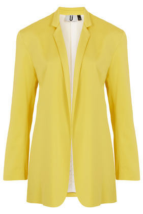 **Yellow Blazer Unique - pattern: plain; style: single breasted blazer; length: below the bottom; collar: standard lapel/rever collar; predominant colour: yellow; occasions: casual, evening, work, occasion; fit: tailored/fitted; fibres: polyester/polyamide - stretch; sleeve length: long sleeve; sleeve style: standard; texture group: cotton feel fabrics; trends: tuxedo; collar break: low/open; pattern type: fabric; pattern size: standard; season: s/s 2013; hip detail: front pockets at hip