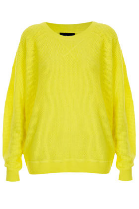 Knitted Mix Stitch Sweater - neckline: round neck; sleeve style: dolman/batwing; style: standard; hip detail: draws attention to hips; predominant colour: yellow; occasions: casual; length: standard; fibres: acrylic - 100%; fit: loose; sleeve length: long sleeve; texture group: knits/crochet; trends: fluorescent; pattern type: knitted - other; pattern size: standard; season: s/s 2013