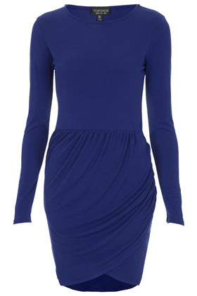 Crepe Wrap Over Skirt Dress - style: shift; length: mid thigh; neckline: round neck; pattern: plain; predominant colour: royal blue; occasions: evening, creative work; fit: body skimming; fibres: polyester/polyamide - stretch; sleeve length: long sleeve; sleeve style: standard; texture group: crepes; pattern type: fabric; season: s/s 2013