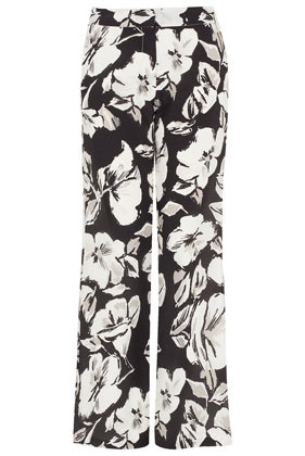 **Silk Flower Trousers Unique - length: standard; style: palazzo; waist detail: fitted waist, wide waistband/cummerbund, feature waist detail; pocket detail: small back pockets, pockets at the sides; waist: mid/regular rise; predominant colour: black; occasions: casual, evening, work, occasion, holiday; fibres: silk - 100%; hip detail: fitted at hip (bottoms); texture group: silky - light; trends: high impact florals; fit: wide leg; pattern type: fabric; pattern: florals; season: s/s 2013; pattern size: big & busy (bottom)