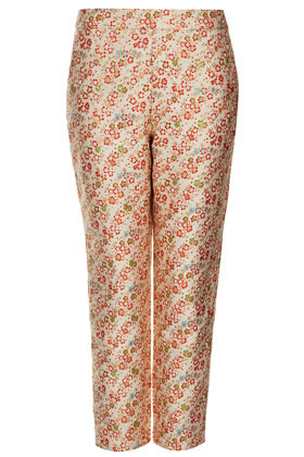 Ditsy Floral Jacquard Trousers - waist detail: fitted waist, feature waist detail; pocket detail: small back pockets, pockets at the sides; waist: mid/regular rise; predominant colour: gold; occasions: casual, evening, occasion; length: ankle length; fibres: polyester/polyamide - mix; hip detail: fitted at hip (bottoms); texture group: ornate wovens; trends: high impact florals, metallics; fit: straight leg; pattern type: fabric; pattern: florals, patterned/print; style: standard; season: s/s 2013; pattern size: standard (bottom)