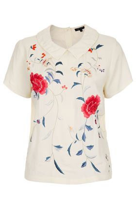 Embroidered Floral Collar Tee - pattern: plain; bust detail: added detail/embellishment at bust; predominant colour: ivory/cream; occasions: casual, work; length: standard; style: top; fibres: polyester/polyamide - 100%; fit: straight cut; neckline: no opening/shirt collar/peter pan; sleeve length: short sleeve; sleeve style: standard; trends: high impact florals; pattern type: fabric; pattern size: standard; texture group: jersey - stretchy/drapey; embellishment: embroidered; season: s/s 2013