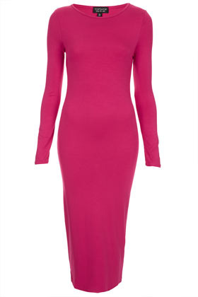 Cerise Midi Bodycon Dress - length: calf length; neckline: round neck; fit: tight; pattern: plain; style: bodycon; waist detail: fitted waist; hip detail: fitted at hip; predominant colour: hot pink; occasions: casual, evening; fibres: polyester/polyamide - stretch; sleeve length: long sleeve; sleeve style: standard; texture group: jersey - clingy; pattern type: fabric; season: s/s 2013