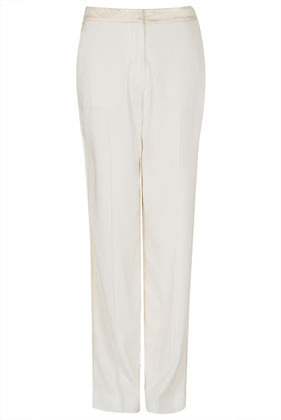 **Tux Trousers Unique - length: standard; pattern: plain; waist detail: fitted waist, narrow waistband; pocket detail: small back pockets, pockets at the sides; waist: mid/regular rise; predominant colour: ivory/cream; occasions: casual, evening, work, occasion; fibres: polyester/polyamide - 100%; hip detail: fitted at hip (bottoms); texture group: silky - light; trends: tuxedo, metallics; fit: straight leg; pattern type: fabric; style: standard; season: s/s 2013; pattern size: standard (bottom)