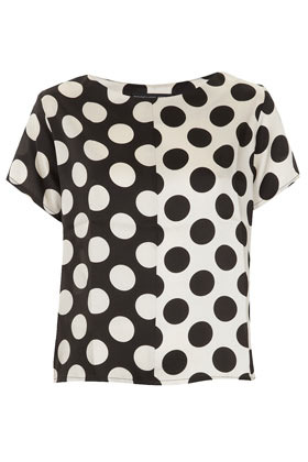 Petite Half And Half Spot Tee - neckline: round neck; style: t-shirt; pattern: polka dot; predominant colour: black; occasions: casual, evening, work; length: standard; fibres: polyester/polyamide - 100%; fit: loose; sleeve length: short sleeve; sleeve style: standard; texture group: sheer fabrics/chiffon/organza etc.; pattern type: fabric; pattern size: standard; season: s/s 2013