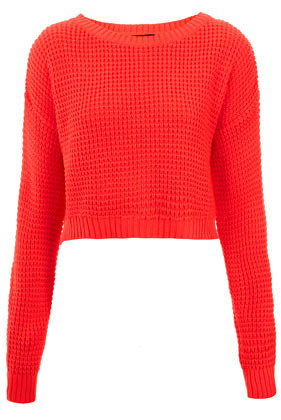 Knitted Textured Stitch Crop Jumper - neckline: round neck; length: cropped; style: standard; predominant colour: bright orange; occasions: casual; fibres: acrylic - 100%; fit: standard fit; sleeve length: long sleeve; sleeve style: standard; texture group: knits/crochet; trends: fluorescent; pattern type: knitted - other; pattern size: standard; season: s/s 2013