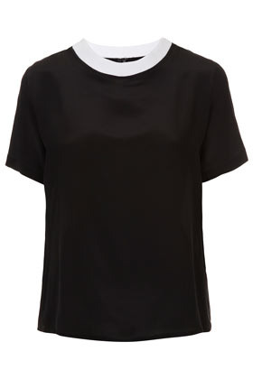 Rib Neck Silk Tee Boutique - neckline: round neck; pattern: plain; style: t-shirt; predominant colour: black; occasions: casual, evening, work; length: standard; fibres: silk - 100%; fit: straight cut; sleeve length: short sleeve; sleeve style: standard; texture group: silky - light; pattern type: fabric; pattern size: standard; season: s/s 2013