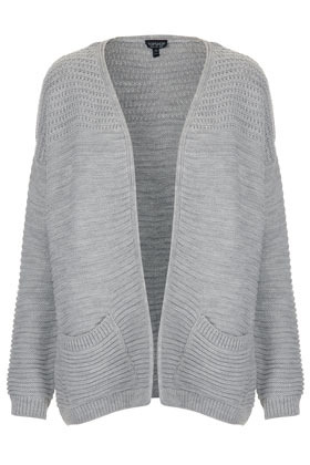 Knitted Panel Yoke Cardi - hip detail: front pockets at hip; neckline: collarless open; shoulder detail: contrast pattern/fabric at shoulder; style: open front; predominant colour: light grey; occasions: casual, work; length: standard; fibres: acrylic - 100%; fit: loose; bust detail: contrast pattern/fabric/detail at bust; sleeve length: long sleeve; sleeve style: standard; texture group: knits/crochet; pattern type: knitted - other; pattern size: standard; season: s/s 2013