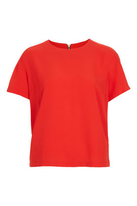 Petite Crepeon Raglan Tee - neckline: round neck; pattern: plain; style: t-shirt; predominant colour: true red; occasions: casual, evening, work; length: standard; fibres: polyester/polyamide - stretch; fit: straight cut; back detail: embellishment at back; sleeve length: short sleeve; sleeve style: standard; texture group: crepes; pattern type: fabric; pattern size: standard; season: s/s 2013
