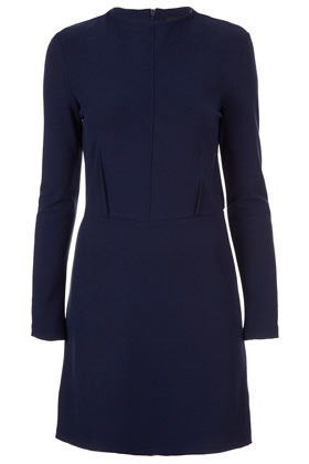 High Neck Shift Dress - style: shift; length: mid thigh; fit: tailored/fitted; pattern: plain; neckline: high neck; waist detail: fitted waist, structured pleats at waist; hip detail: draws attention to hips, ruching/gathering at hip; bust detail: subtle bust detail; predominant colour: navy; occasions: casual, evening, work, occasion; fibres: polyester/polyamide - stretch; sleeve length: long sleeve; sleeve style: standard; trends: glamorous day shifts; pattern type: fabric; pattern size: standard; texture group: jersey - stretchy/drapey; season: s/s 2013