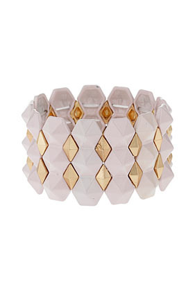Pyramid Stretch Bracelet - predominant colour: gold; occasions: casual, evening, work, occasion; size: large/oversized; material: chain/metal; finish: plain; embellishment: chain/metal; season: s/s 2013; style: expander