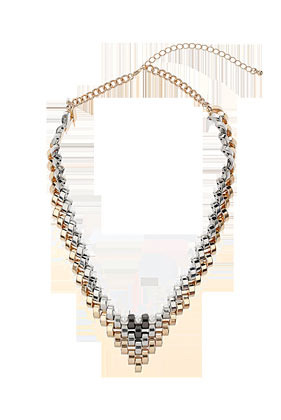 V Link Collar - predominant colour: gold; occasions: casual, evening, occasion; length: mid; size: large/oversized; material: chain/metal; finish: metallic; style: bib/statement; season: s/s 2013