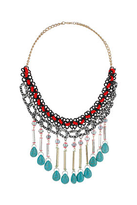 Turquoise Dangle Collar - predominant colour: turquoise; occasions: casual, evening, holiday; length: mid; size: large/oversized; material: chain/metal; finish: plain; style: bib/statement; season: s/s 2013
