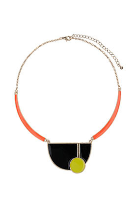 Bauhaus Shape Collar - predominant colour: black; occasions: casual, evening, work, occasion; length: short; size: large/oversized; material: chain/metal; finish: fluorescent; style: bib/statement; season: s/s 2013