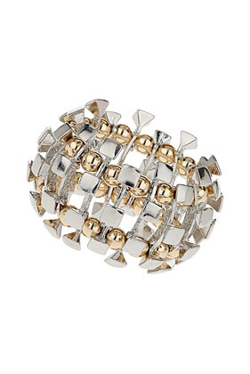 Mixed Link Bracelet - predominant colour: silver; occasions: evening, work, occasion; size: large/oversized; material: chain/metal; finish: metallic; embellishment: beading; season: s/s 2013; style: expander