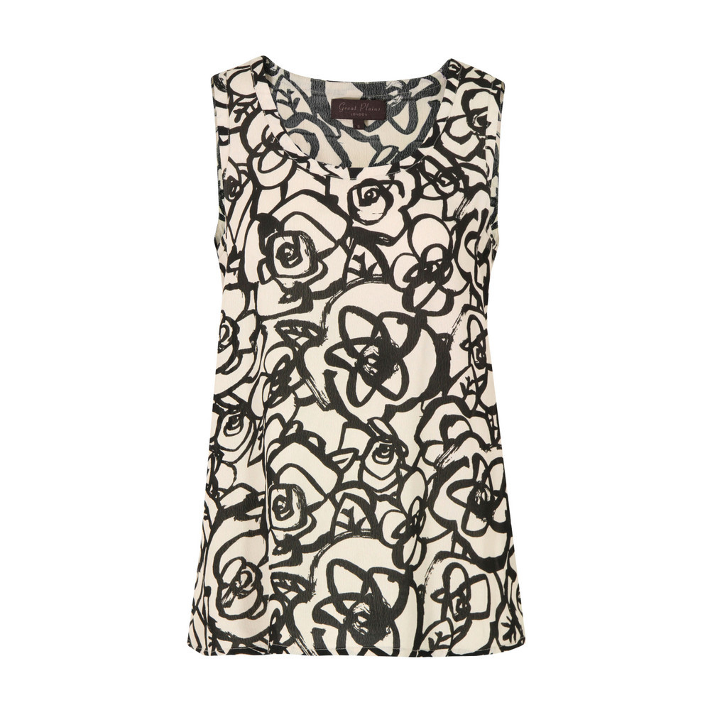 J2 Bf9 Doodle Flower Pavlova Sleeveless Top - neckline: round neck; sleeve style: sleeveless; occasions: casual; length: standard; style: top; fibres: viscose/rayon - 100%; fit: loose; sleeve length: sleeveless; predominant colour: monochrome; pattern type: fabric; pattern size: standard; pattern: florals; texture group: other - light to midweight; season: s/s 2013