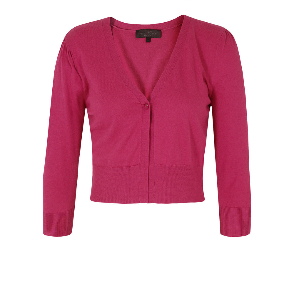 J8 Bf9 Shy Dolly Pink Knit - neckline: v-neck; length: cropped; bust detail: buttons at bust (in middle at breastbone)/zip detail at bust; predominant colour: hot pink; occasions: casual, work, occasion; style: standard; fibres: cotton - mix; fit: slim fit; sleeve length: 3/4 length; sleeve style: standard; texture group: knits/crochet; pattern type: knitted - fine stitch; season: s/s 2013