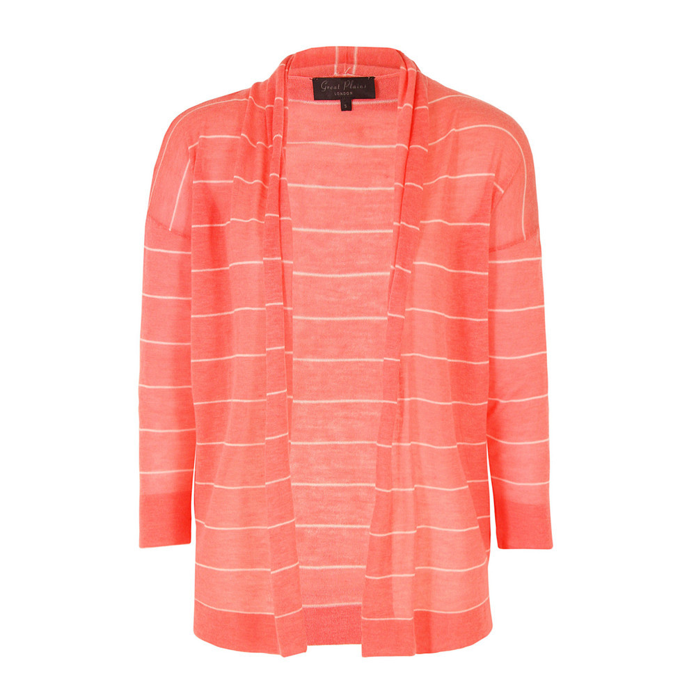 J8 Bh9 Jojo Knits Darcey Combo Open Cardigan - pattern: horizontal stripes; neckline: collarless open; style: open front; predominant colour: coral; occasions: casual, work; length: standard; fibres: wool - mix; fit: loose; sleeve length: 3/4 length; sleeve style: standard; texture group: knits/crochet; pattern type: knitted - other; pattern size: standard; season: s/s 2013
